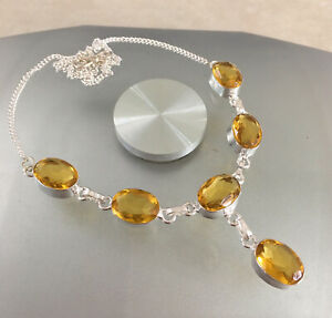 """NATURAL OVAL YELLOW GOLD MADEIRA CITRINE 925 STERLING SILVER NECKLACE 20"""""""