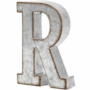 8 In Rustic Letter Wall Decoration R Galvanized Metal Letter for Home Decor