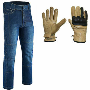 Men Motorbike Motorcycle jeans Reinforced Padded Lining Trouser With Free Glove