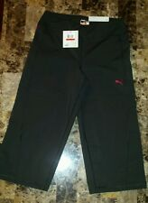 NWT $55 Puma Black Fitness Flare Bottom Capri Athletic Pants Women's XS