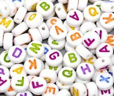 "450 Mixed White Acrylic Alphabet /Letter ""A-z"" Coin Spacer Beads 7x4mm Round"