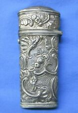 ANTIQUE ETUI SILVER REPOUSSE 18th CENTURY SEWING CASE, TESTED