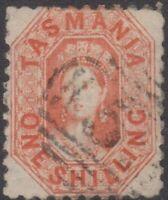 TAS Stamps - Queen Victoria - 1864 - 1/- Vermillion - used - SG96
