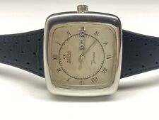 vintage omega automatic dynamic geneve day/date rare square swiss  wristwatch