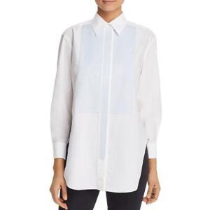 Tory Burch Womens Check Cotton Blouse Button-Down Top Shirt BHFO 6985