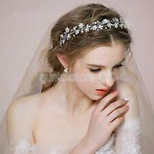Diamante Sunflower Headband Pearl Crown Garland Hair Clip for Wedding Party