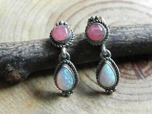 Rhodochrosite, Fire Opal & Sterling Silver Earrings by F. Martinez Navajo