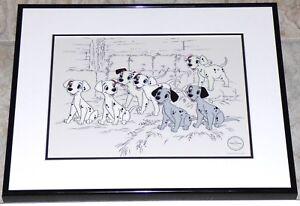WALT DISNEY 101 DALMATIANS HOPEFUL PUPS FRAMED LE SERICEL DOGS PUPPIES