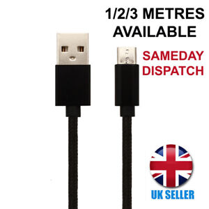 For Huawei Honor 6X Charger Cable Micro-USB Black Charging Lead 1M 2M 3M Long