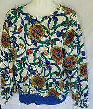 Vtg Josephine Blouse Long Sleeve Blue Green White Lightweight 80s Mod NWT      A