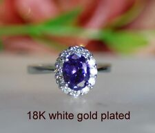 2ct Look oval Amethyst claster ring uk size K ; us 5.5