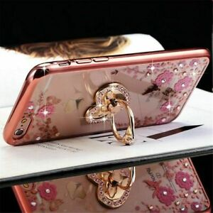 For iPhone 11 12 Pro Max XR Xs 8 7 6 Diamond Flowers Ring Holder Phone Case