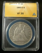 Nice Original 1860-O Seated Liberty Silver Dollar Graded by ANACS as a VF-35