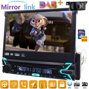 "7"" Single 1Din Car DVD CD Player DAB+ BT Radio Stereo GPS Sat Nav UK Free Camera"