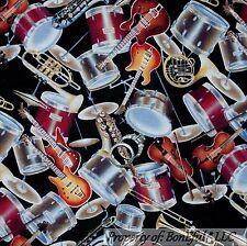 BonEful Fabric Cotton Quilt B&W MUSIC Band Drum Trumpet Sax Violin Guitar SCRAP