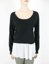 Aqua Crop Twofer Knit Top Black White L $78 8640 BM7