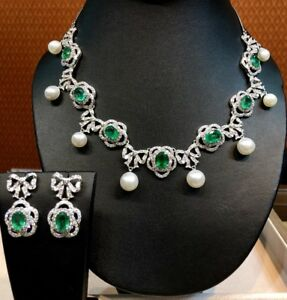 SALE! HUGE 26.98CT Emerald diamond 18K white gold Necklace Natural Earring Pearl