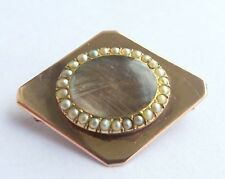 Double sided Hair Mourning Brooch Georgian 15ct Gold,Seed Pearl, Rock Crystal