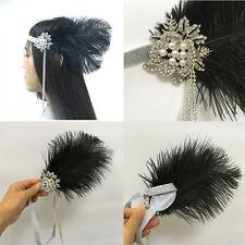 1920s Flapper Headband Feather Pearl Crystal Headpiece Great Gatsby Hair Band
