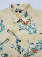 Tommy Bahama Baseball Silk Hawaiian Camp Button Up Short Sleeve Shirt Mens XL
