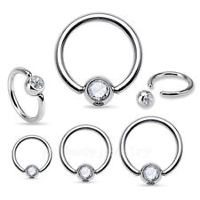 2pcs 20G 18G 16G 14G Surgical Steel CZ Captive Bead Ring Earrings Septum Labret
