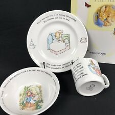 Peter Rabbit Wedgwood CUP BOWL PLATE Beatrix Potter Frederick Warner 1991 NEW VT