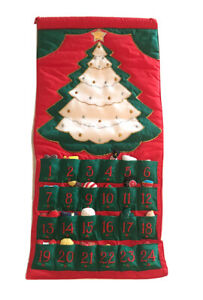 Vintage Fabric Advent Calendar POCKETS OF LEARNING Complete Christmas Tree