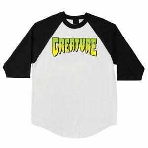 Creature LOGO 3/4 SLEEVE RAGLAN Skateboard Shirt WHITE/BLACK XXL