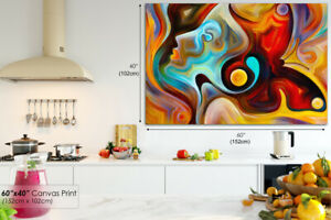 AB567 Orange Surreal Face Modern Abstract Canvas Wall Art Framed Picture Print