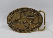 Vintage Exxon 2 Million Safe Hour Brass Men's Belt Buckle - USA