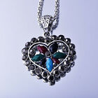 Lovely White Gold Filled Silver Zirconia Cubic Stone Heart Pendant Necklace