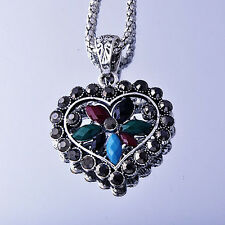Lovely White Gold plated Silver Zirconia Cubic Stone Heart Pendant Necklace