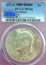 """1971-S PCGS MS66 Silver """"Van Gogh"""" Post-Clash 1SB-405.2 Die Crack DIVA ~Nice!~"""