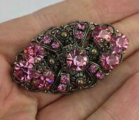 Art Deco Czech Glass Brooch - Pink Stones 1920s Bohemian SUPERB