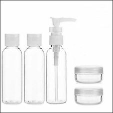 5pc Piece Holiday Travel Bath Toiletry Set Clear 100 ml Bottle Airport Flight