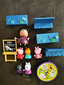 Peppa Pig's School Classroom Play Set 5 Action Figures Kids Toys Genuine