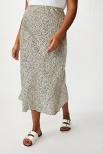 Cotton On Curve Belle Midi Skirt Curve  In  Natalie Spot Parchment