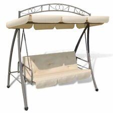vidaXl Outdoor Swing Chair w/ Canopy Sand White Hammock Porch Garden Seat