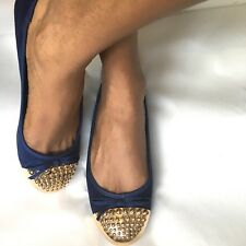 Women's Flat Navy Blue Shoes Ballerina Shoes Blue