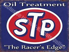 Vintage Garage STP Engine Oil, 62 Car Petrol, Racer's edge, Small Metal/Tin Sign