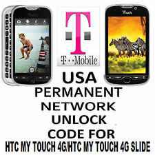 HTC Unlock Code network unlock PIN for T-Mobile  HTC myTouch 4G  OR 4G SLIDE