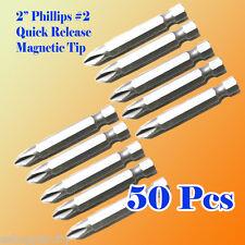 "50 2"" Phillips #2 Screw Driver Bit Quick Release 1/4 Hex Shank Magnetic Tip PH2"