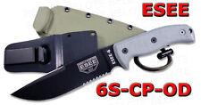 ESEE Model 6 Clip Pnt Serrated w/ Green Sheath 6S-CP-OD