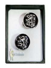 Deluxe tradicional escocés Diseño Gemelos-León Rampante De Esmalte Negro