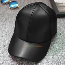 Unisex Men's Women's Leather Baseball Cap Snapback Outdoor Sports Hat Black New