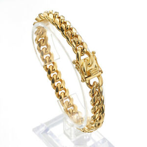 8-18mm Cool Mens Miami Cuban Link Chain Bracelet 18k Gold Plated Stainless Steel