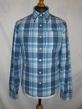 MEN'S *HOLLISTER* SHIRT BLUE CHECK BUTTON DOWN COLLAR SZ SMALL MINT CONDITION.