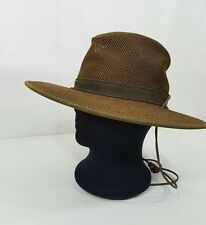 Henschel Hat HH Breezer Leather Canvas Strap Outdoors USA Green Brown Size S