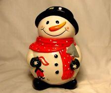 Delightful Snowman Ceramic Cookie Jar W/Bird House, Shovel & Red Polka Dot Scarf