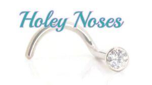 18ct White Gold 0.02ct Natural Diamond Nose Stud Ring Pin Bone body jewellery